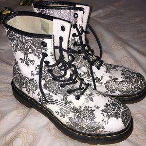 Dr. Martens silver sparkle damask floral boots 10